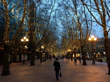 Occidental Avenue (photo taken last year during our trip to Seattle over Thanksgiving weekend)